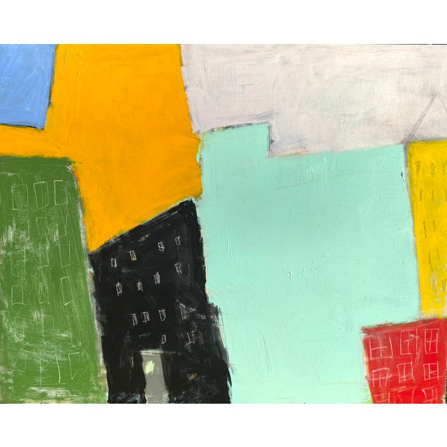 """Sarah Trundle Contemporary Abstract City-Scape Painting """"On the Block"""" For Sale"""