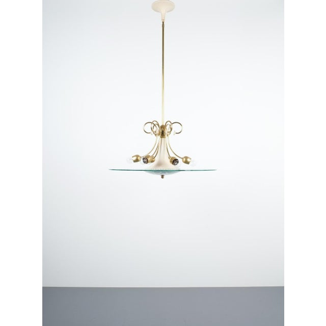 Brass Large Chandelier Luigi Brusotti Glass Brass, Italy, Circa 1940 For Sale - Image 7 of 13