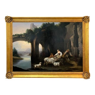 18th Century Italian Oil On Canvas Painting, Figures and Farm Animals For Sale