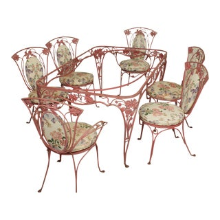 Salterini Vintage Wrought Iron Grape Leaf Dining Seat, Table + 6 Chairs For Sale