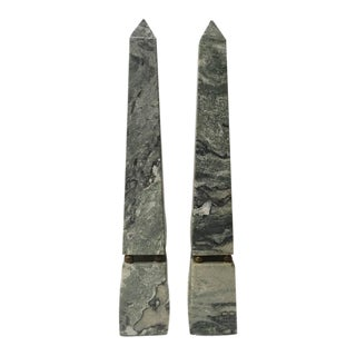 Green Striated Marble Obelisks - a Pair