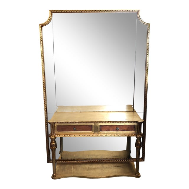 Gold Gilded Console Table With Mirror For Sale
