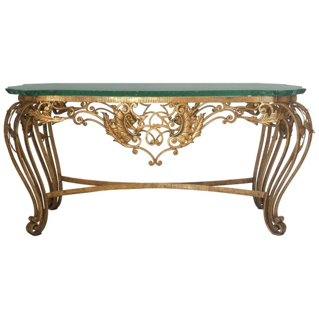 Glass Italian Gilt Wrought Iron Coffee Table For Sale - Image 7 of 7