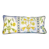 Image of Thibaut Indian Panel Printed Blue and Yellow Cotton Linen Lumbar Pillow For Sale