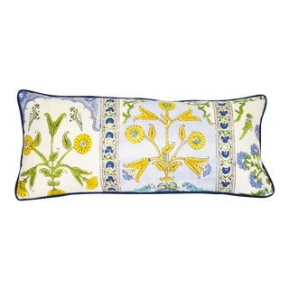Thibaut Indian Panel Printed Blue and Yellow Cotton Linen Lumbar Pillow For Sale