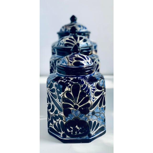 Mexican Vintage Mexican Hand Painted 'Amora' Talavera Pottery Canister Set With Lids - Set of 3 For Sale - Image 3 of 13