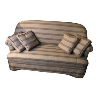 Striped Tan Sofa With Matching Throw Pillows For Sale