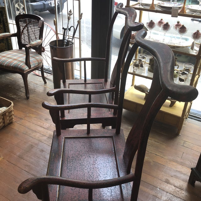 Red Empire Chairs- a Pair For Sale - Image 4 of 13