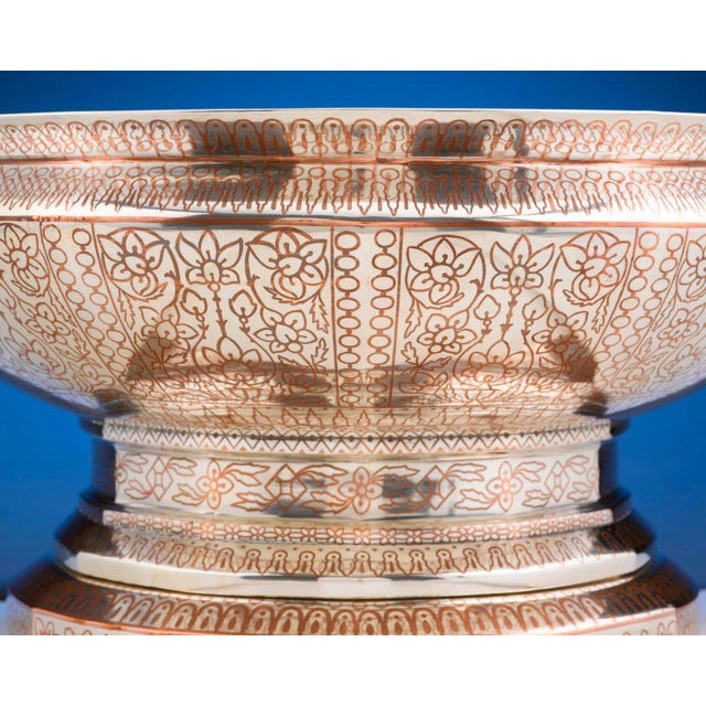Tiffany & Co, Copper Inlaid Silver Punch Service For Sale - Image 4 of 8