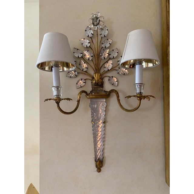 Art Nouveau French Baccarat Sconces - a Pair For Sale - Image 3 of 4