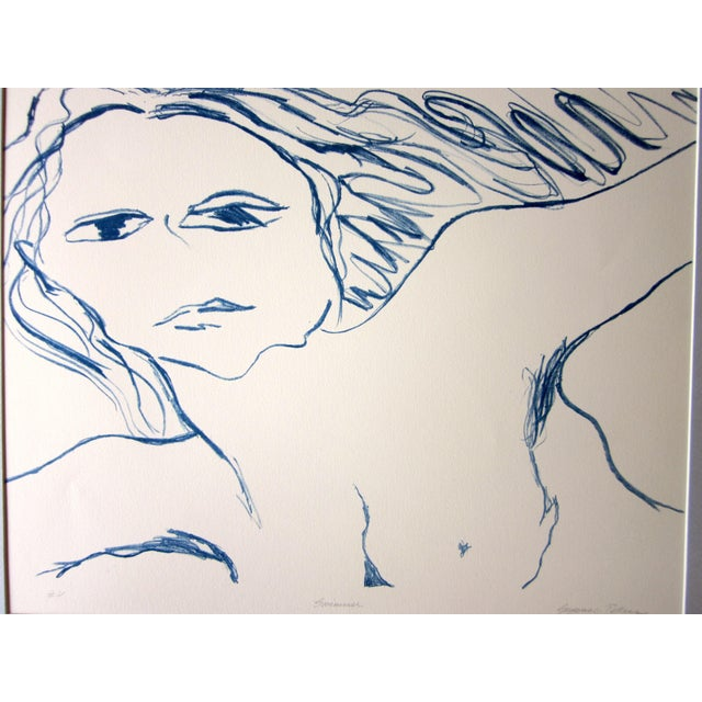 """Paper 1970s Vintage Suzanne Peters """"Swimmer"""" Nude Stone Lithograph For Sale - Image 7 of 10"""