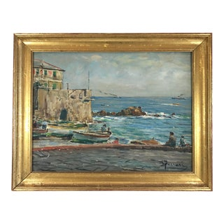 Vintage Italian Genoa Seascape Oil Painting on Board by Berto Ferrari For Sale