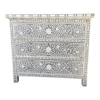 Shalimar Bone Inlaid Gray 3-Drawer Chest For Sale