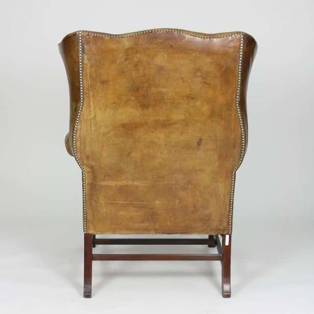 Animal Skin An Elegant Brown Tufted Leather and Mahogany Wing Chair with Tight Seat; English Circa 1860. For Sale - Image 7 of 13