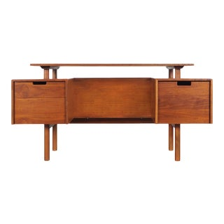 Early Floating Top Walnut Desk by Milo Baughman For Sale