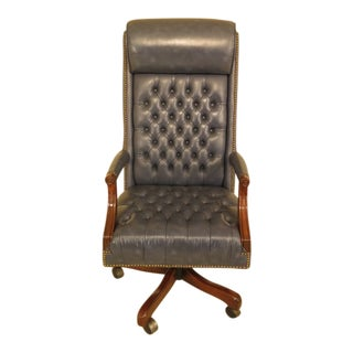 Blue Tufted Leather High Back Office Desk Chair