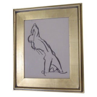 Vintage Charcoal Drawing of Fainting Figure