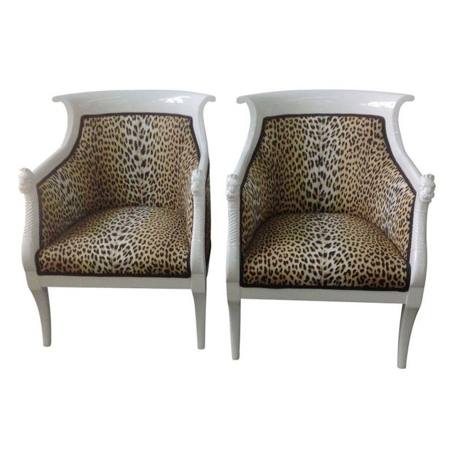 Leopard Print Italian Chairs - A Pair For Sale