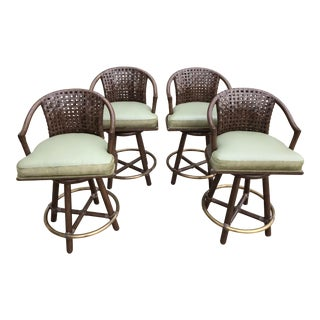 McGuire Leather and Calf Hair Counter Stools Set of 4 For Sale
