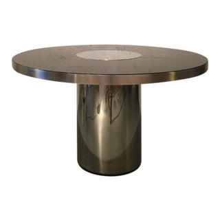 Stainless Steel and Glass Dining Table by Willy Rizzo For Sale