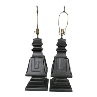 Monumental Painted Carved Wood Lamps - a Pair For Sale