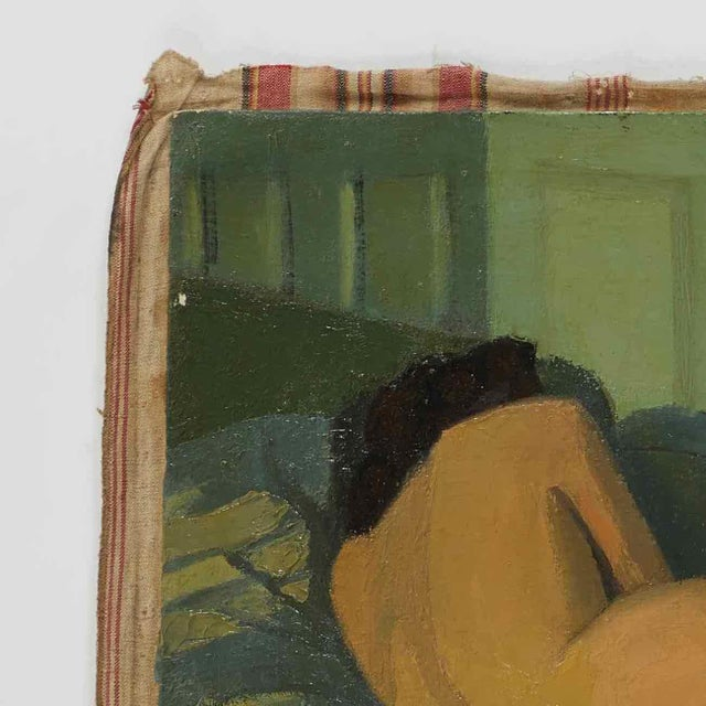 Oil Painting of Female Nude Lying on Sofa by Artist B. Buchet For Sale - Image 4 of 5