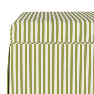 Skirted Storage Ottoman in Candy Stripe Olive Oga Preview