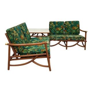 Vintage Rattan Love Seats & Table Set- 3 Pieces For Sale