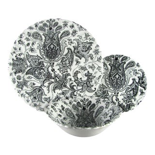 1970s Johnson Brothers Paisley Black Service for 8 Dinnerware - 24 Piece Set For Sale