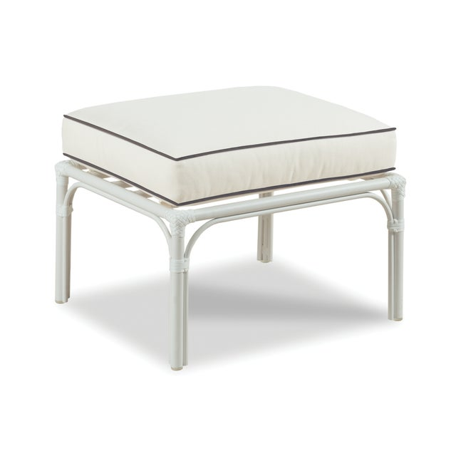 Traditional Haven Outdoor Ottoman, White and Coal For Sale - Image 3 of 3