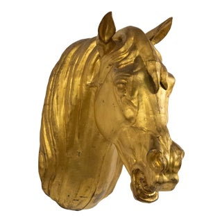 French Provincial Gilt Horse Head Butcher Sign For Sale