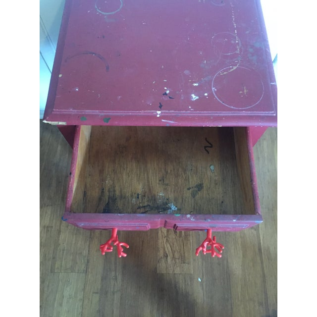 Distressed Maroon One Drawer Side Table - Image 7 of 7