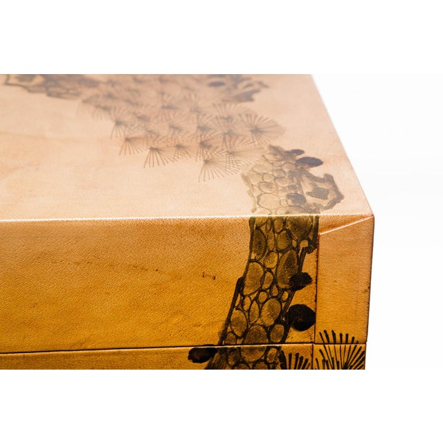 Metal Hand-Painted Natural Tan Leather Box on Handcrafted Brass Stand as Side Table For Sale - Image 7 of 11