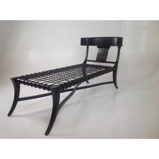 2010s Espresso Klismos Style Chaise For Sale - Image 5 of 6
