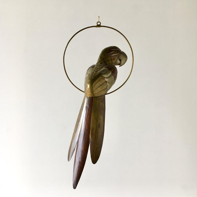 Mid-Century Modern Copper and Brass Parrot by Sergio Bustamante 1960s For Sale - Image 3 of 7