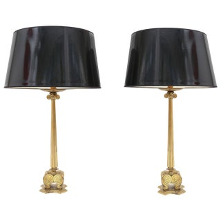 Maison Jansen Style Brass Hollywood Regency Lamps