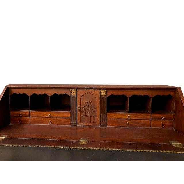 Antique Flame Mahogany Slant Front Desk For Sale - Image 4 of 8