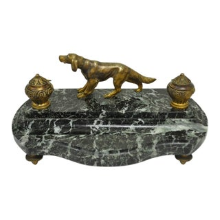 Antique French Empire Figural Bronze Hunting Dog & Marble Double Desk Inkwell For Sale