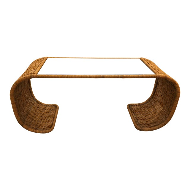 Vintage Scroll Natural Wicker Console Table For Sale