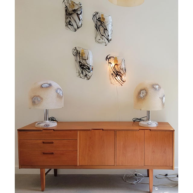 1980s Italian Alfredo Barbini Mid-Century Modern Murano Glass Lamps - a Pair For Sale - Image 10 of 11
