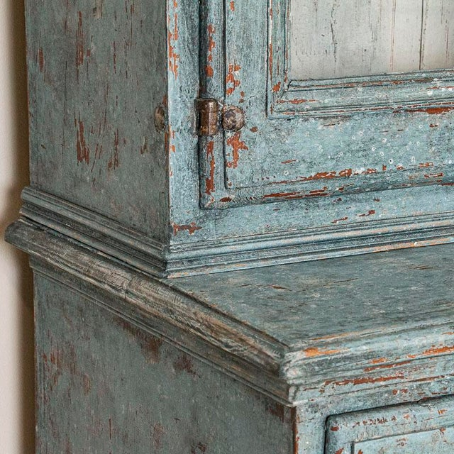 Blue Antique Blue Painted Bookcase Display Cabinet From Sweden For Sale - Image 8 of 13