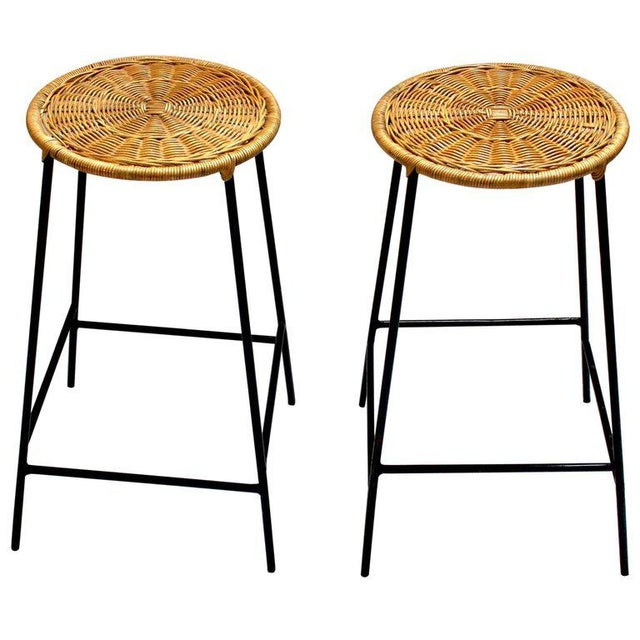 Wicker & Metal Bar Stools, Arthur Umanoff Style - A Pair For Sale - Image 9 of 9