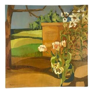 "Landscape Garden and Field 36"" Square Oil on Board For Sale"