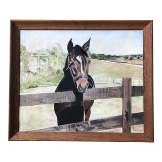 "Vintage Original Horse Painting ""Voyager in Florida"" Signed For Sale"