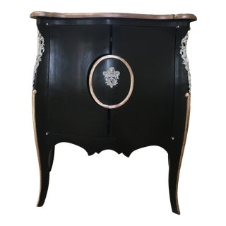 Louis XVI Style Black and Silver Cabinet For Sale