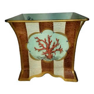 Porter Starr Hand Painted Coral Motif Striped Tole Cachepot For Sale