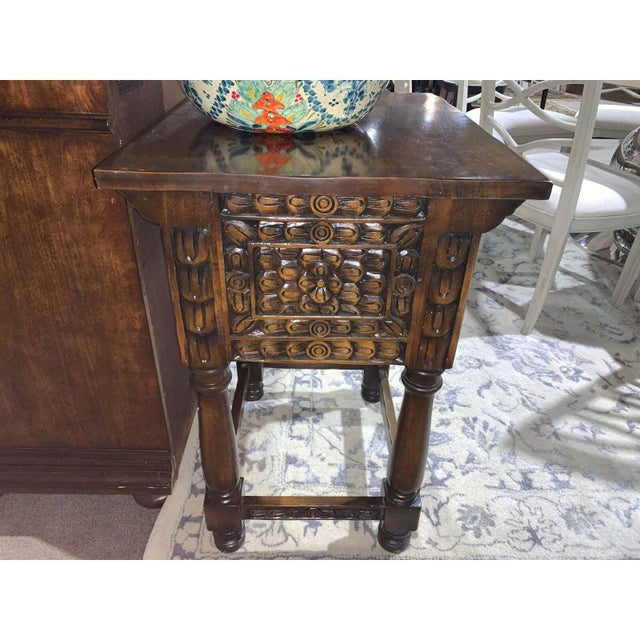 Traditional Hand Carved Wooden Vanity & Hand Painted Sink For Sale - Image 3 of 12