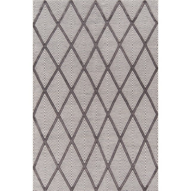 """Erin Gates by Momeni Langdon Spring Charcoal Hand Woven Wool Area Rug - 60"""" x 96"""" For Sale"""