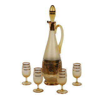 Vintage Gold Decanter and Glasses