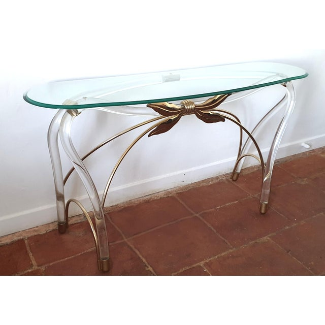 Large Mid-Century Modern Organic Glass Brass & Lucite Console Table, Spain 1970s For Sale - Image 4 of 13